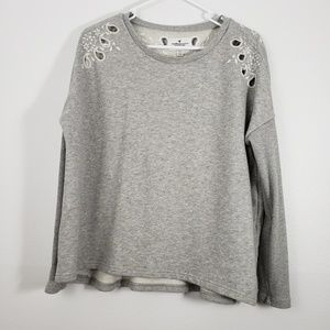 AEO Oversized Paisley Print Embroidered Sweater